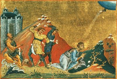 Мъченичество на св. първомъченик архидякон Стефан. Миниатюра от минологията на Василий II. Константинопол. 985 г.
