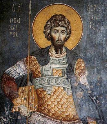 """Свети Теодор Стратилат. Фреска от църквата """"Успение Богородично"""" в Протат, Атон. Начало на XIV в."""