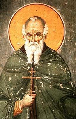Преподобни Атанасий Атонски. Фреска от църквата ''Успение Богородично'' в Протат. Атон. Началото на XIV в.