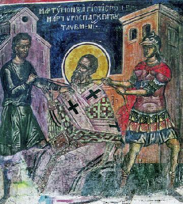 Мъчение на св. свещеномъченик Панкратий. Фреска от Атон - манастир Дионисиат. 1547 г.