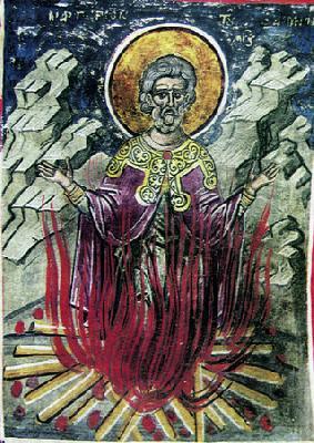 Мъченичество на св. Емилиан. Фреска от Атон, манастир Дионисиат. 1547 г.