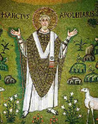 Св. свещеномъченик Аполинарий. Мозайка от Равена. Средата на VI в.