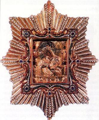Първообраз на чудотворната икона на Пресвета Богородица Почаевска. Намира се в Успенската Почаевска лавра в западна Украйна