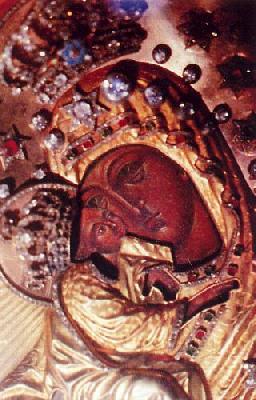 Фрагмент от чудотворната икона на Пресвета Богородица ''Почаевска''