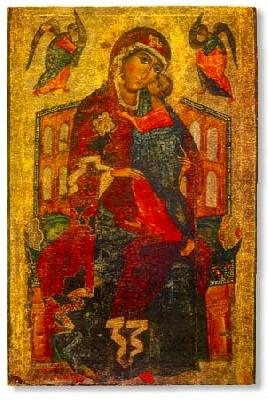 стара икона на Толгската Богородица. Рисувана коло 1327 г.