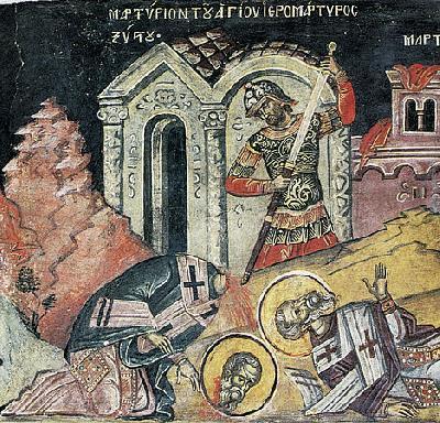 Мъчение на св. Сикст, папа Римски. Фреска от Атон – манастир Дионисиат. 1547 г.