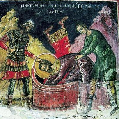 Мъчение на свв. Флор и Лавър. Фреска от манастир Дионисиат, Атон. 1547 г.