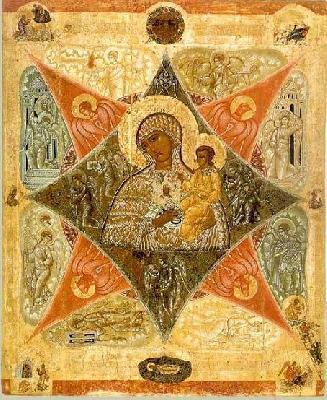 """""""Неизгаряща къпина"""", икона на Божията Майка. Руска икона от края на XVI в."""