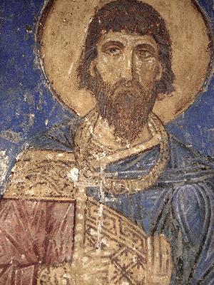 Свети мъченик Евдоксий. Фреска от Спасо-Мирожския манастир. XII век