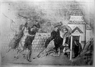 Мъченичество на св. свещеномъченик Автоном. Миниатюра от минологията на Василий II. Константинополь. 985 г.