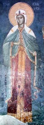 Св. великомъченица Евфимия. Фреска от църквата ''Благовещение'' в Грачаница, Косово, Сърбия. Около 1318 г.