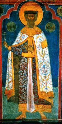 Св. благоверен княз Александър Невски. Икона от Архангелския събор на Московския Кремъл. 1652 - 1666 гг.