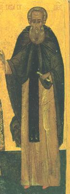 Св. преподобни Сава Вишерски Фрагмент от икона. Русия. 2-ра половина на XVI в.