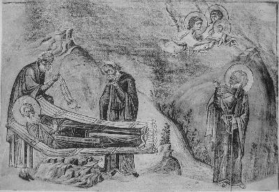 Св. преподобни Амон. Миниатюра от минологията на Василий II. Константинопол. 985 г.
