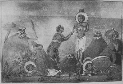 Свещеномъченици Гай, Фавст, Евсевий, Херимон диакони Александрийски. Миниатюра от минологията на Василий II. Константинопол. 985 г.