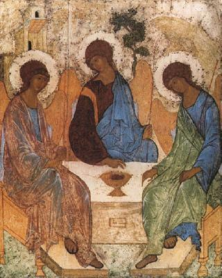 Посещението на Авраам (Старозаветна Троица) от преподобни Андрей Рубльов