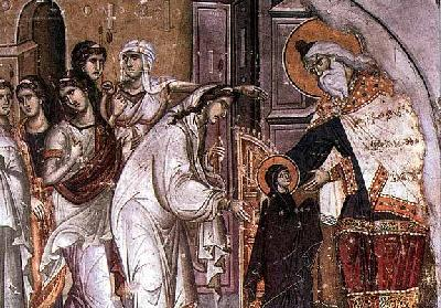 Въведение на Пресвета Богородица в храма.  Фреска от ок. XIV в. Съборната черква