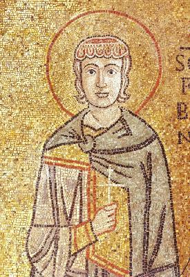 Свети свещеномъченик Фавий, папа Римски. Мозайка от Италия. Венеция. Събор ''Свети Марк''. XII в.