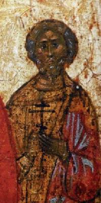 Свети мъченик Понтий, римлянин. Фрагмент от икона от Русия. 1-ва половина на XVI в. Музей на иконите, Реклингхаузен, Германия
