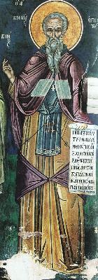 Прп. Козма. Фреска. Афон (Дионисиат). 1547 г.