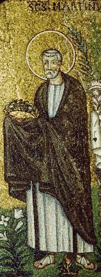 Свт. Мартин. Мозаика храма Сант - Аполлинаре Нуово. Равенна. Италия. VI в.
