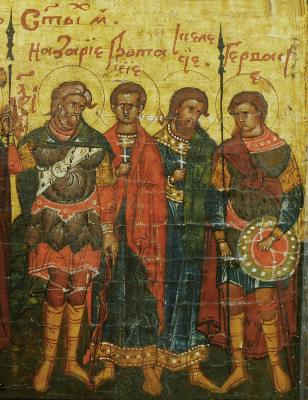 Св. мъченици Назарий, Гервасий, Протасий и Келсий. Минейна икона от Русия. Началото на XVII в.