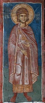 Св. мъченик Келсий Медиолански. Фреска от църквата ''Христос Пантократор''. Дечани. Косово. Сърбия. Около 1350 г.