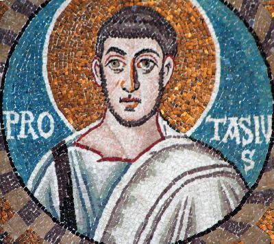 Мъченици Протасий и Гервасий Медиолански. Мозаика храма Сан-Витале, Равенна (VI в.)