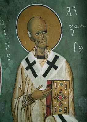 Свети праведни Лазар Четверодневни. Фреска от църквата ''Аракос Панагиия'. Кипър. 1192 год.