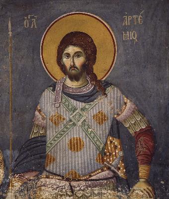 Св. великомъченик Артемий. Икона от Византия. XIV в.