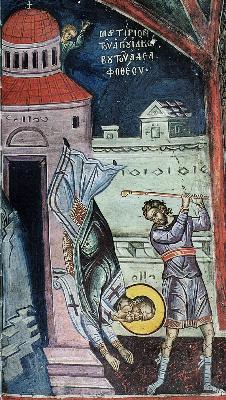 Мъчение на св. ап. Яков. Фреска. Афон (Дионисиат). 1547 г.