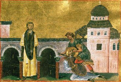 Мъченици Маркиан и Мартирий. Миниатюра Минология Василия II. Константинополь. 985 г.