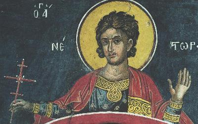 Мъченик Нестор. Фреска. Афон (Дионисиат). 1547 г