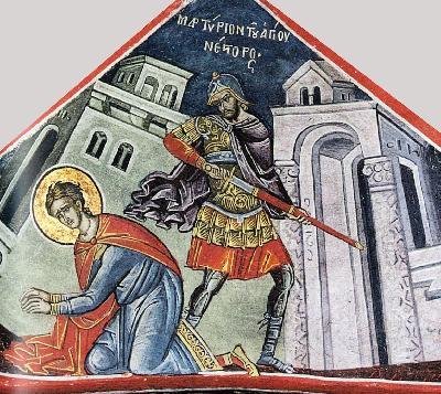 Мъчение на св. Нестор. Фреска. Афон (Дионисиат). 1547 г.