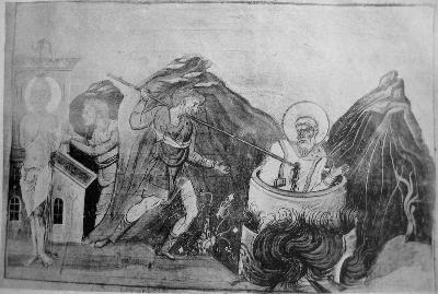 Мъчение на свети свещеномъченик Кириак, патриарх Иерусалимски