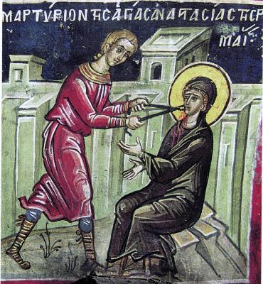 Мъчение на св. Анастасия. Фреска от Атон, манастир Дионисиат. 1547 г.
