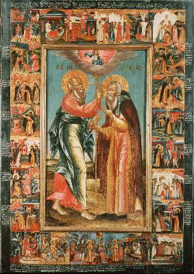 Явяване на апостол Иоан Богослов на преподобния Авраамий с житие на преподобния. Икона от Русия. 1-ва третина на XVIII в.