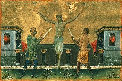 Мъчение на света мъченица Евтропия. Миниатюра из Минология императора Василия ΙΙ (X век)