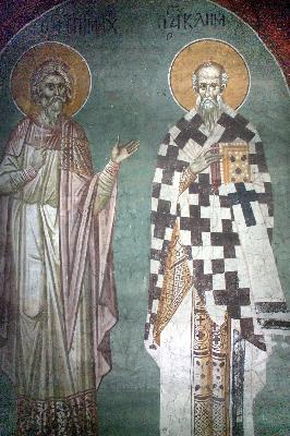 Свв. Епимах и Климент. Фреска в церквата Благовещение. Грачаница. Косово. Сърбия. Около 1318 г.