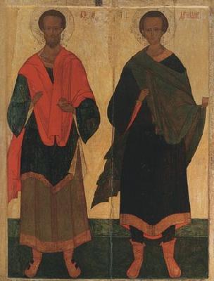 Козма и Дамиан Асийски. Икона от XVI в.