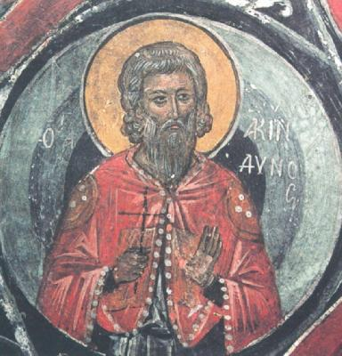 Св. мъченик Акиндин. Фреска от манастира Метеора. 1527 г.