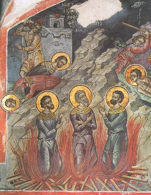 Мъченик Акиндин. Фреска от Атон , манастира Дионисиат. 1547 г.