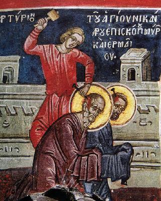 Мъчение на свв. Никандър и Ермей. Тзортзи (Зорзис) Фука. Фреска. Атон (Дионисиат). 1547 г.