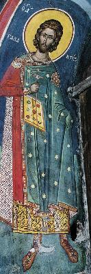 Св. мъченик Галактион. Фреска от Атон, манастир Дионисиат. 1547 г.