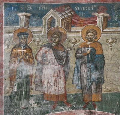 Преп. Матрона, мчч. Онисифор и Порфирий. Фреска. Църква Христос Пантократор. Дечани. Косово. Сърбия. Около 1350 года.