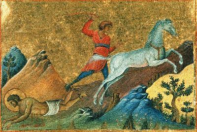 Мъчение на св. Орест Тиански (Кападокийски). Миниатюра Минология Василия II (Константинополь, 985 г.).