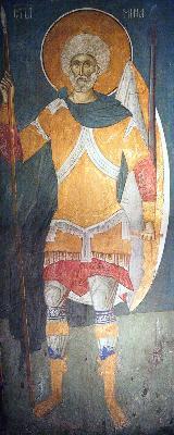 Великомъченик Мина. Фреска. Църква Христос Пантократор. Дечани. Сърбия (Косово). Около 1350 година.