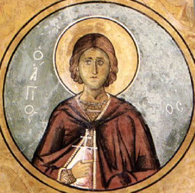 Св. мъченик Викентий. Фреска от Кипър (Аракос). 1192 г.