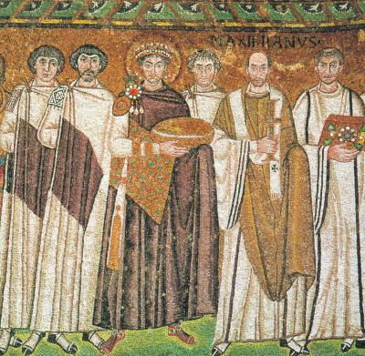 Свети цар Юстиниан, фрагмент от мозайка. Равена (Сан-Витале). 532-547 гг.
