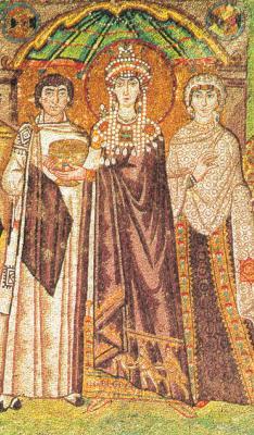 Благоверна царица Теодора, императрица Византийска, фрагмент от мозайка. Равена (Сан-Витале). 532-547 гг.
